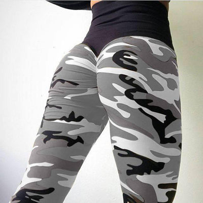 Camo Print Leggings Gray / XS - Women Bottoms | MegaMallExpress.com