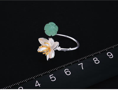 Lotus Flower Gold Plated Ring  - Fine Jewelry | MegaMallExpress.com