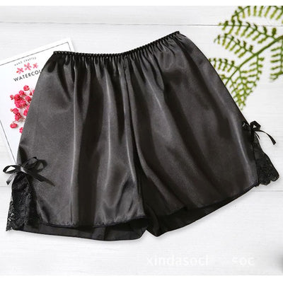 Women Satin Shorts Pajama black-bowknot / One Size - Women Intimates | MegaMallExpress.com