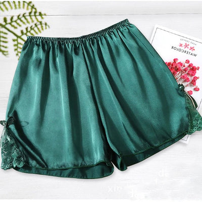 Women Satin Shorts Pajama green-bowknot / One Size - Women Intimates | MegaMallExpress.com