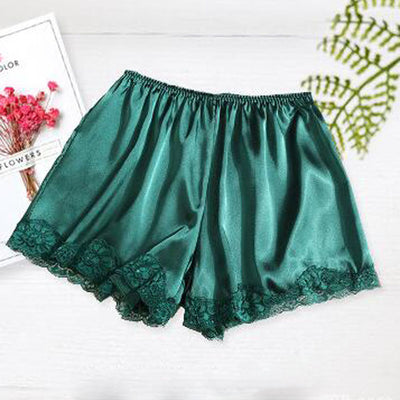 Women Satin Shorts Pajama green-lace / One Size - Women Intimates | MegaMallExpress.com