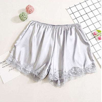Women Satin Shorts Pajama silver-lace / One Size - Women Intimates | MegaMallExpress.com