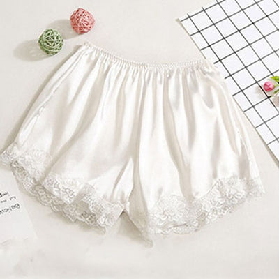Women Satin Shorts Pajama white-lace / One Size - Women Intimates | MegaMallExpress.com