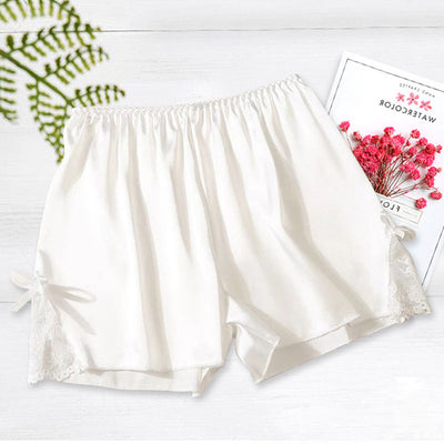 Women Satin Shorts Pajama white-bowknot / One Size - Women Intimates | MegaMallExpress.com