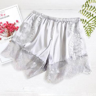 Women Satin Shorts Pajama silver-eyelash / One Size - Women Intimates | MegaMallExpress.com
