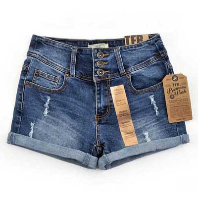 Women Mid Waist Denim Shorts Blue / 32 - Women Bottoms | MegaMallExpress.com