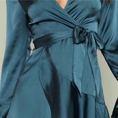 Sexy V Neck High Waist Dress  - Women Dresses | MegaMallExpress.com