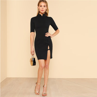 Seductive Split Black Sheath Dress Black / L - Women Dresses | MegaMallExpress.com