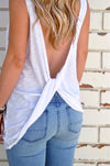 Women Sleeveless Tank Top Knotted in the Back  - Women Tops & Tees | MegaMallExpress.com