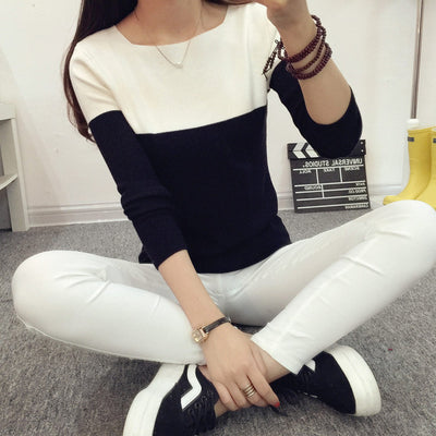 Women Two Color Sweater Black / One Size - Women Sweaters | MegaMallExpress.com