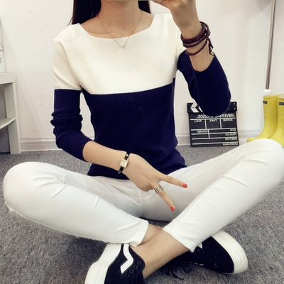 Women Two Color Sweater Blue / One Size - Women Sweaters | MegaMallExpress.com