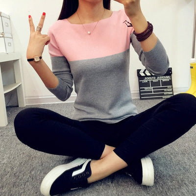 Women Two Color Sweater Pink / One Size - Women Sweaters | MegaMallExpress.com