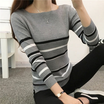 Women Two Color Sweater Gray 02 / One Size - Women Sweaters | MegaMallExpress.com