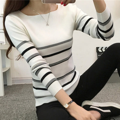 Women Two Color Sweater Gray 01 / One Size - Women Sweaters | MegaMallExpress.com