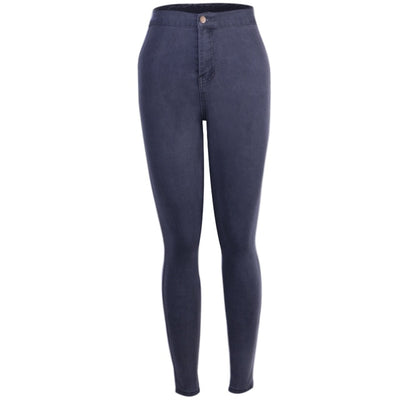 Women High Waist Jeans gray / XS - Women Bottoms | MegaMallExpress.com
