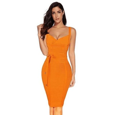 Women Sleeveless Bandage Dress Orange / M - Women Dresses | MegaMallExpress.com