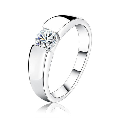 AAA Grade CZ Ring 4.5 / White / Platinum - Formal Rings | MegaMallExpress.com