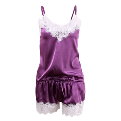 Women Shorts Sleepwear Set A White purple / XXL - Women Intimates | MegaMallExpress.com