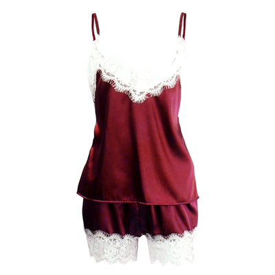 Women Shorts Sleepwear Set A White Wine Red / XXL - Women Intimates | MegaMallExpress.com