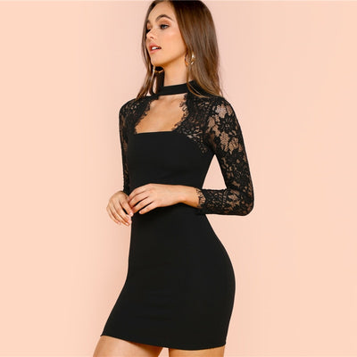 Black Lace Form Fitting Party Dress  - Women Dresses | MegaMallExpress.com