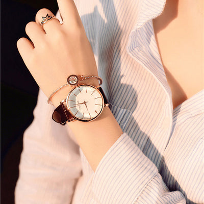 Women Elegant Big Face Watch Brown - Women Watches | MegaMallExpress.com