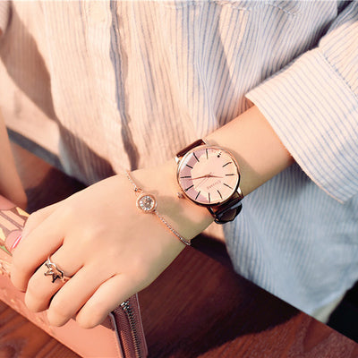 Women Elegant Big Face Watch pink glass brown - Women Watches | MegaMallExpress.com