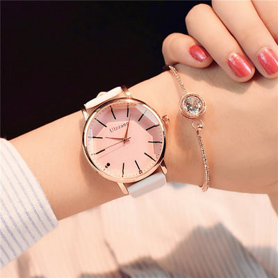 Women Elegant Big Face Watch pink glass white - Women Watches | MegaMallExpress.com