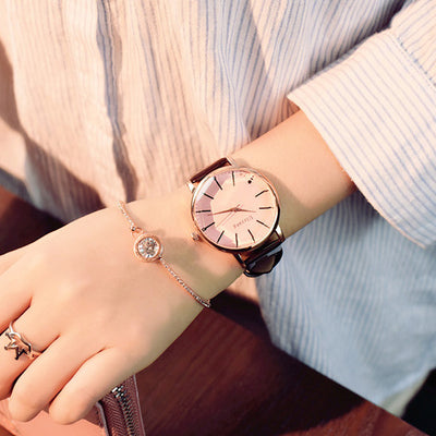 Women Elegant Big Face Watch pink glass black - Women Watches | MegaMallExpress.com