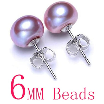 Women Natural Pearl Earrings Purple 6mm - Fine Jewelry | MegaMallExpress.com