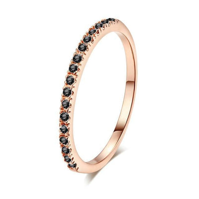 Mini CZ Wedding Ring 7.25 / RoseGold Black - Wedding & Engagement | MegaMallExpress.com