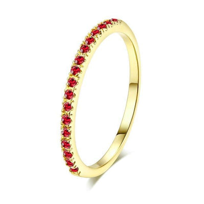 Mini CZ Wedding Ring 7.25 / YellowGold Red - Wedding & Engagement | MegaMallExpress.com