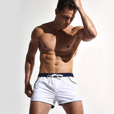 Men's Swim Shorts White / XXL - Men Bottoms | MegaMallExpress.com