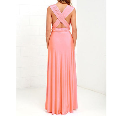 Women Halter Top Bridesmaid Long Dress pink dress / XL - Women Dresses | MegaMallExpress.com