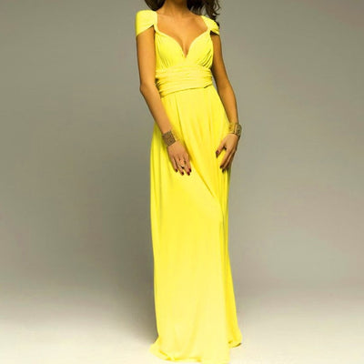 Women Halter Top Bridesmaid Long Dress yellow dress / XL - Women Dresses | MegaMallExpress.com