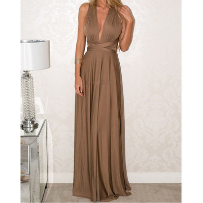Women Halter Top Bridesmaid Long Dress multi way dress / XL - Women Dresses | MegaMallExpress.com