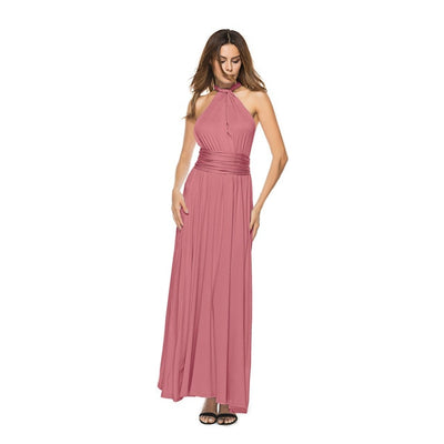 Women Halter Top Bridesmaid Long Dress DN05613 / M - Women Dresses | MegaMallExpress.com