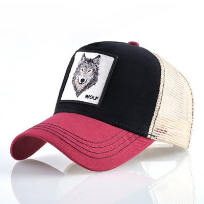 Animal Embroidered Baseball Caps Red2 Wolf / 56-60cm - Men Hats & Caps | MegaMallExpress.com
