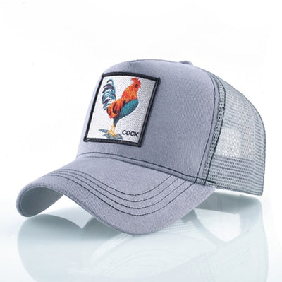 Animal Embroidered Baseball Caps Gray Cock / 56-60cm - Men Hats & Caps | MegaMallExpress.com