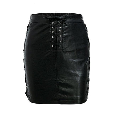 Lace Up Faux Leather Mini Skirt Black / L - Women Bottoms | MegaMallExpress.com