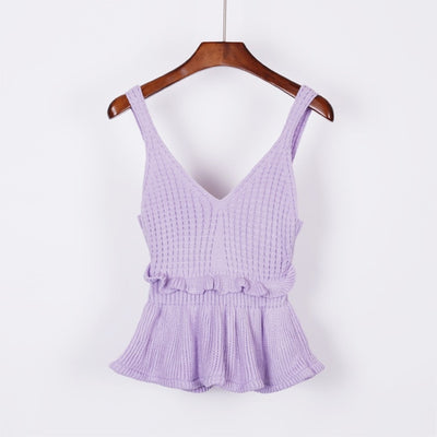 Sleeveless V Neck Knitted Crop Top purple / One Size - Women Tops & Tees | MegaMallExpress.com