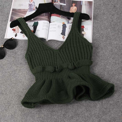 Sleeveless V Neck Knitted Crop Top green / One Size - Women Tops & Tees | MegaMallExpress.com