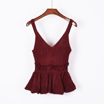 Sleeveless V Neck Knitted Crop Top wine red / One Size - Women Tops & Tees | MegaMallExpress.com