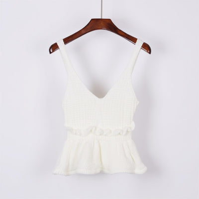 Sleeveless V Neck Knitted Crop Top white / One Size - Women Tops & Tees | MegaMallExpress.com