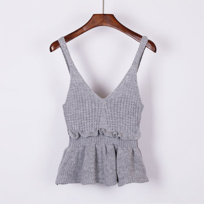 Sleeveless V Neck Knitted Crop Top gray / One Size - Women Tops & Tees | MegaMallExpress.com