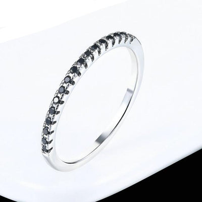 Mini CZ Wedding Ring 7.25 / WhiteGold Black - Wedding & Engagement | MegaMallExpress.com