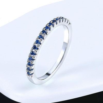 Mini CZ Wedding Ring 7.25 / WhiteGold Blue - Wedding & Engagement | MegaMallExpress.com
