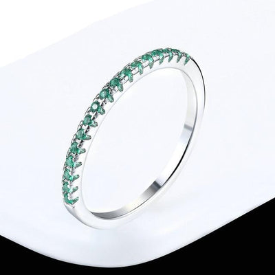 Mini CZ Wedding Ring 7.25 / WhiteGold Green - Wedding & Engagement | MegaMallExpress.com