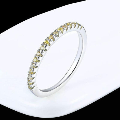 Mini CZ Wedding Ring 7.25 / WhiteGold Yellow - Wedding & Engagement | MegaMallExpress.com