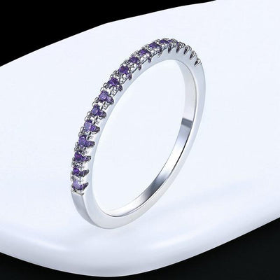 Mini CZ Wedding Ring 7.25 / WhiteGold Purple - Wedding & Engagement | MegaMallExpress.com