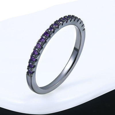Mini CZ Wedding Ring 7.25 / BlackGold Purple - Wedding & Engagement | MegaMallExpress.com